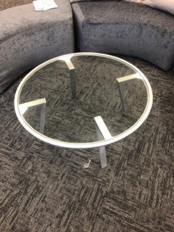 Rental store for GLASS TOP COFFEE TABLE SILVER GOLD TRIM in Mishawaka IN